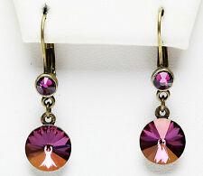 KIRKS FOLLY RAVISHING RIVOLI LEVERBACK EARRINGS Swarovski Crystal Lilac Shadow
