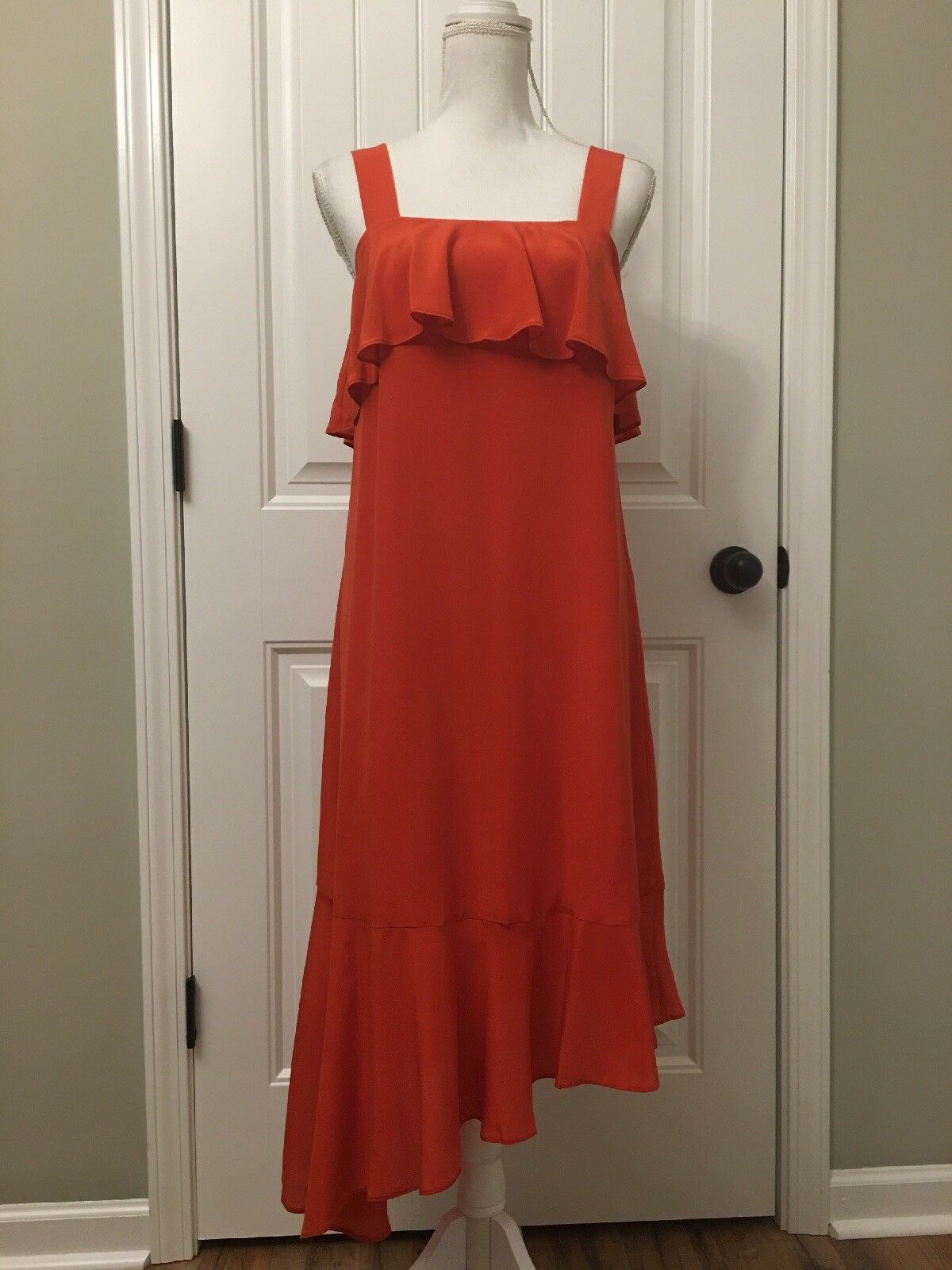 Madewell Silk Ruffle Tank Dress Bright Poppy Sz 2 H3634