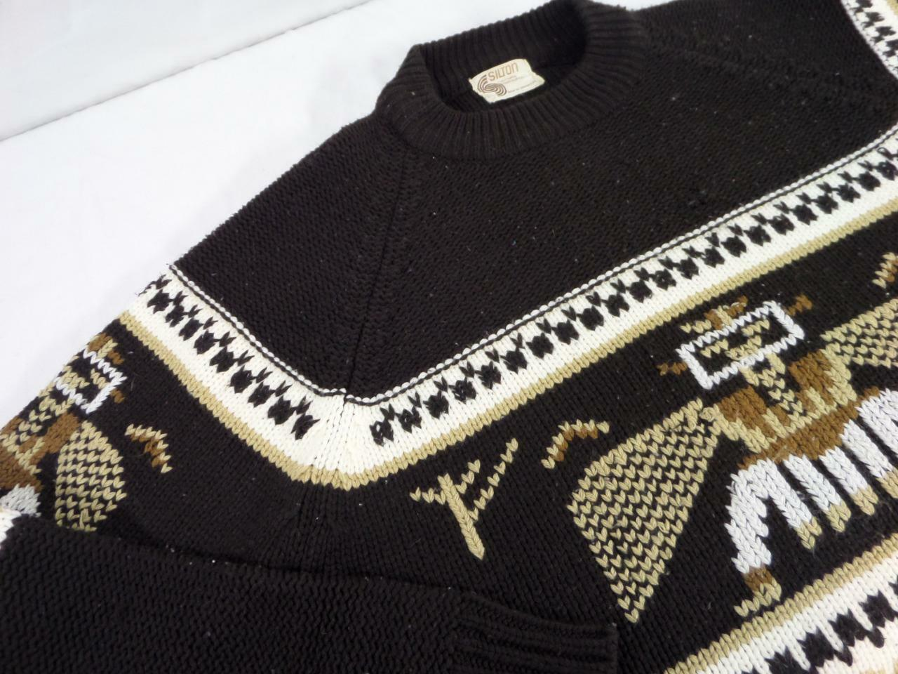 Vintage 1960s indian SILTON knit sweater XL aztec cowichan totem pole