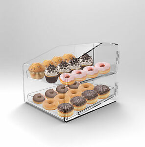 Bakery Display Case 2 Tray Acrylic Perspex Clear Muffins Cakes