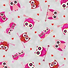 "Love's all around Owls Valentine's Grey 100% cotton 43"" fabric x yard"