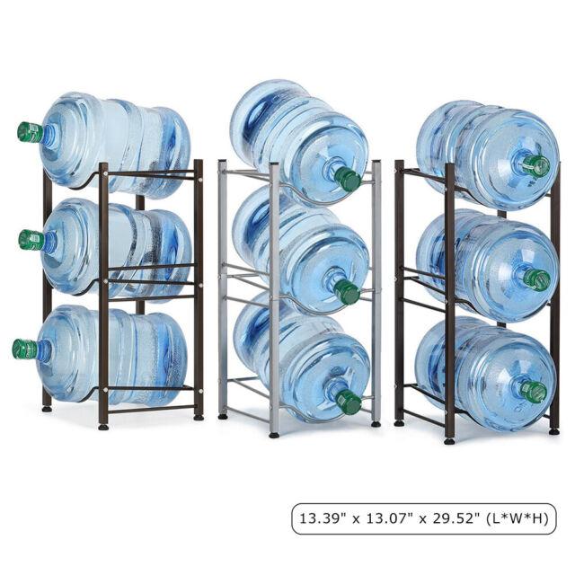 3-Tier Stackable Water Cabinet Shelf 5 Gallon Water Bottle Storage Rack Holder