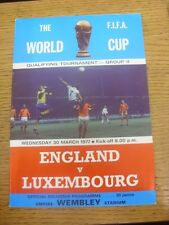 30/03/1977 England v Luxembourg [At Wembley] (Folded). Any faults are noted in b