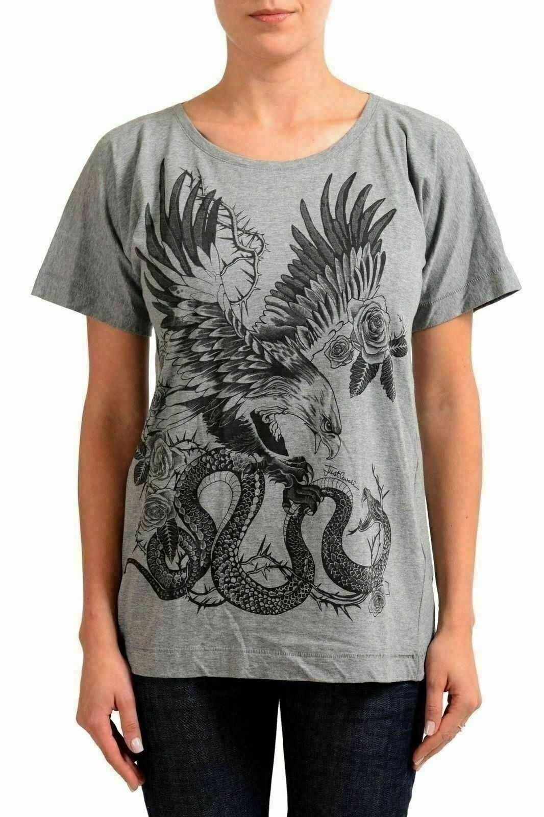 Just Cavalli Grigio Illustrato Donna Manica Manica Manica Corta Donna T-Shirt USA S It 40 969da2