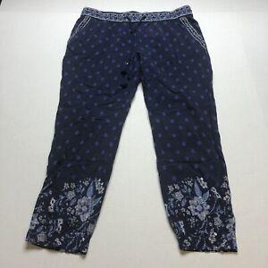 Old Navy Blue Floral Boho Pull On Elastic Waist Crop Pants Sz M A1738