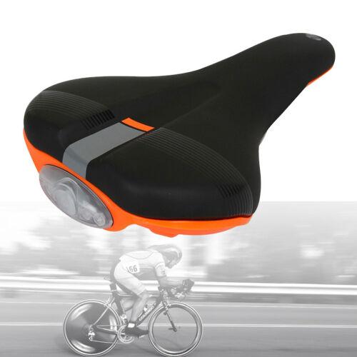 Black//Orange Bicycle Seat Mountain Bike Microfiber Memory Foam Saddle LED Light