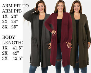 PLUS-SIZE-WOMENS-COMFY-FIT-LONG-SLEEVE-SOLID-COAT-JACKET-CARDIGAN-SWEATER-TOP