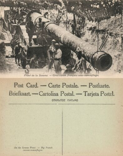BIG FRENCH CANNON CAMOUFLAGED WWI ANTIQUE POSTCARD