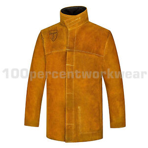 RHINOweld-Tan-Leather-Welding-Welders-Jacket-Flame-Retardant-Stitched-Heavy-Duty
