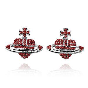 Silver-Red-Orbital-Ufo-Rhinestones-Orb-Stud-Earrings-Saturn-Heart-Cross-E1403R
