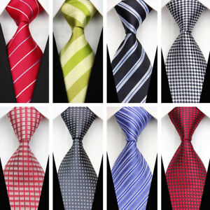 Purple-Blue-Black-Red-Green-Grey-Wedding-Stripe-Plaid-Necktie-Silk-Men-039-s-Tie