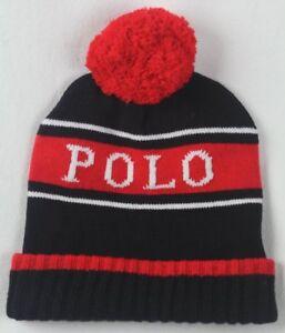 économiser sortie en ligne Vente Détails sur Polo Ralph Lauren de Collection Stade Noir Blanc Rouge Laine  Bonnet
