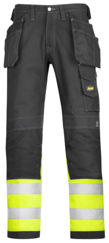 Snickers Hi Vis Cotton Trousers with Kneepad /& Holster Pockets Class 1-3235