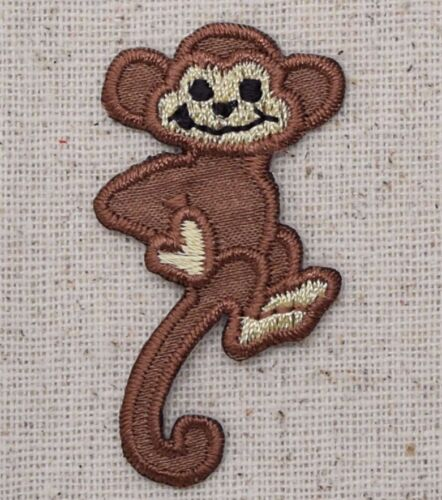 Iron On Applique Embroidered Patch Brown Monkey Primate with Tail Down