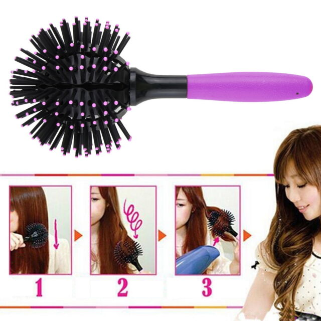 3D Hair Brush Ball Style Blow Drying Detangling Salon Heat Resistant Comb New FE