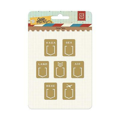 Basic Grey Carte Postale Metal Tabs/Clips!! 7 pcs!!