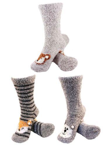 3 Pair Asst 11 Women/'s Fuzzy Cozy Warm Cute Animal Home Bed Cabin Socks