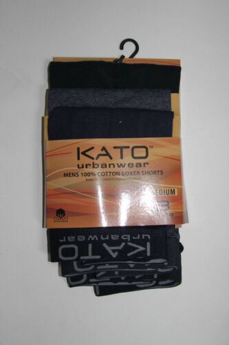 KATO URBANWEAR PACK 3 PAIRS MENS BOXER SHORTS 100/% COTTON BUTTON FLY S M L XL