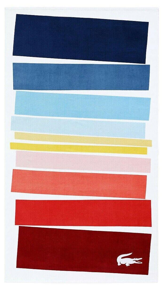 LACOSTE Spectrum Cotton Colorblocked Beach Pool Towel 36