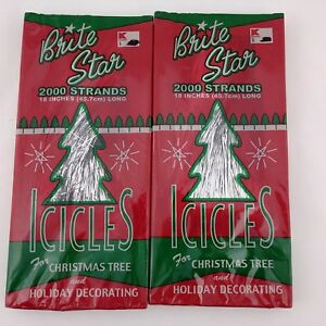 Christmas Tree Icicles Tinsel.Details About Christmas Tree Icicles Tinsel 2000 Strands Brite Star 18 Lot Of 2 Usa Made