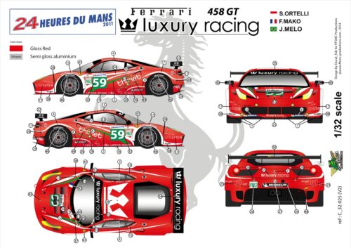 "LM 2011 Decals 1//32 Ferrari F-458 GT /""Luxury Racing/"" FFSMC Productions"