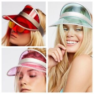 Details about NEW Understated Leather x Free People High Roller Vinyl Visor  Hat Red Pink Aqua 166e1705ea6