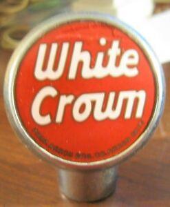 VINTAGE-WHITE-CROWN-BEER-BALL-TAP-KNOB-HANDLE-AKRON-BREWINGCO-AKRON-OH-OHIO