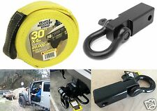 """2"""" D-Ring Hitch Receiver + 30' X 4"""" Tow Recovery Strap Offroad New Free Shipping"""