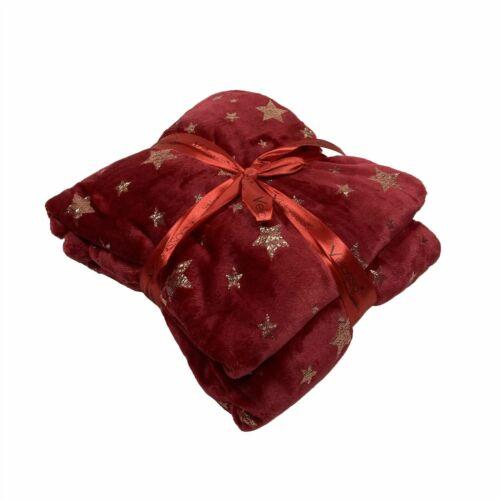 2 couleurs 127X152CM Noël Festif Métallique étoiles en polaire douce couverture lancer