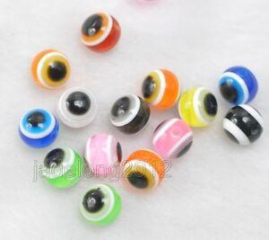 100 Mixed Colour 10mm Acrylic Evil Eye Ball Round Beads