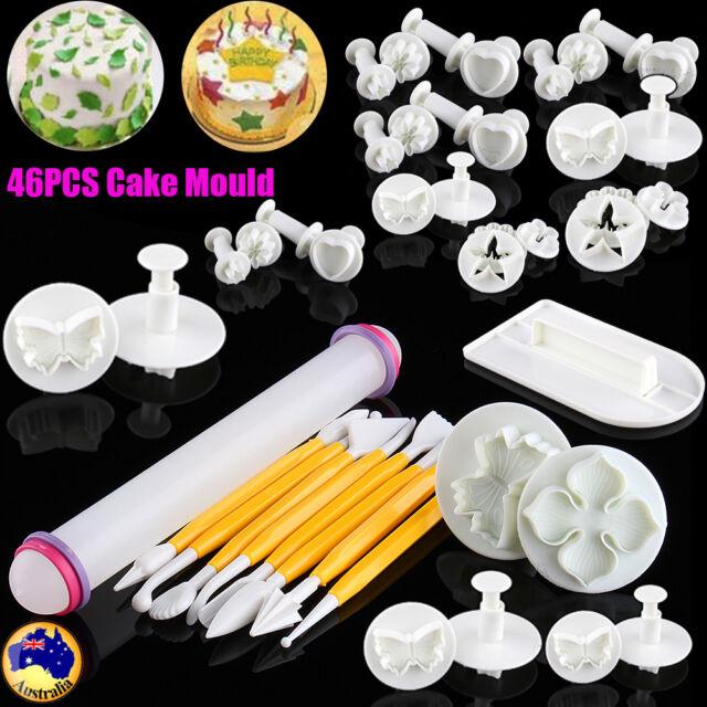46Pcs Fondant Sugarcraft Cake Decorating Icing Plunger Cutters Baking Tool Mold