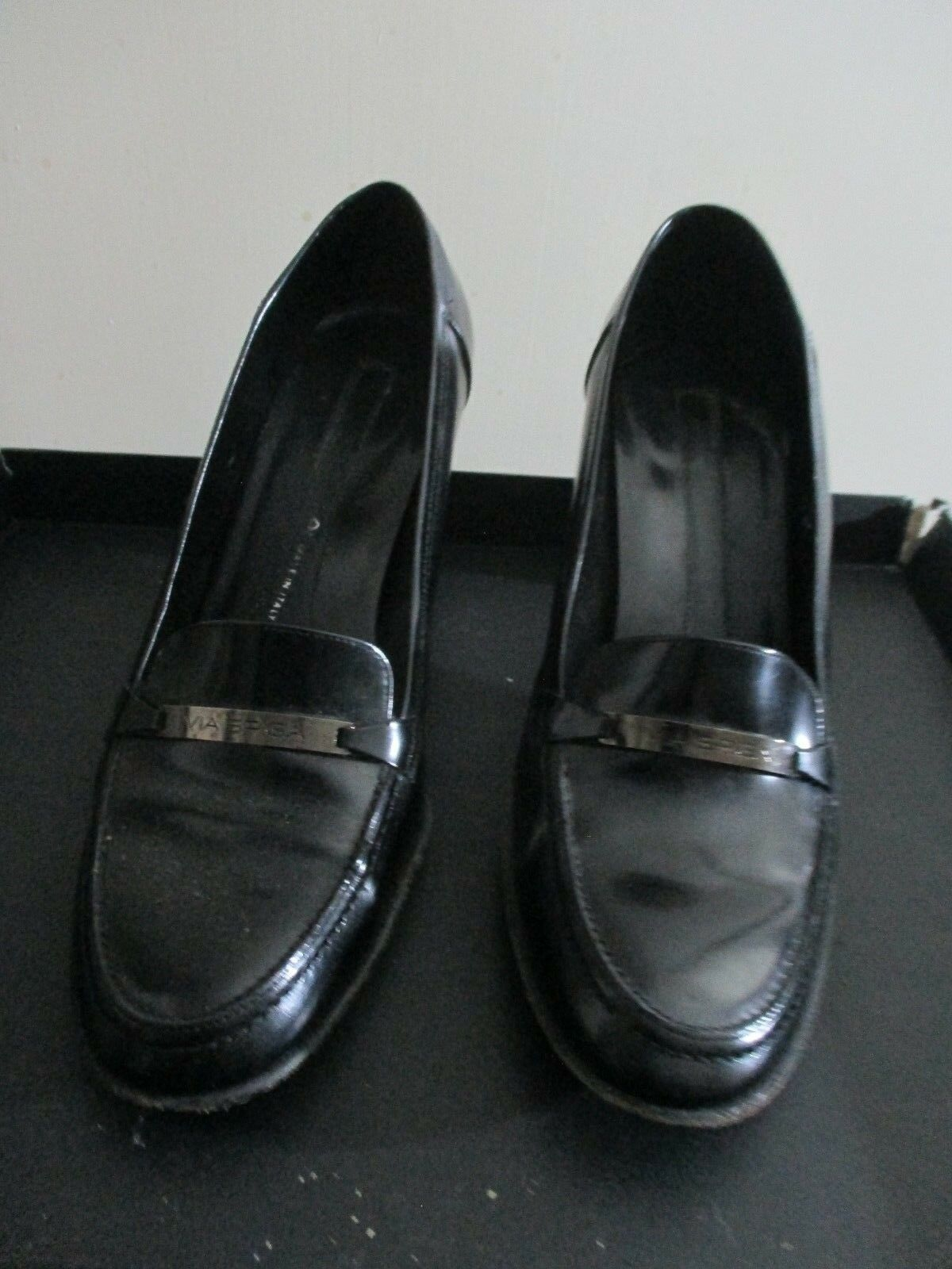 Via Spiga black leather high heel shoes pumps Size 9.5 Made in