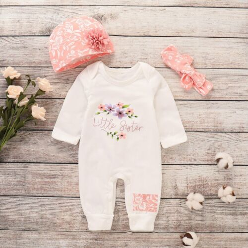 Baby Little Sister Print Long Sleeve Romper+Headband+Hat Outfits Clothing Suits