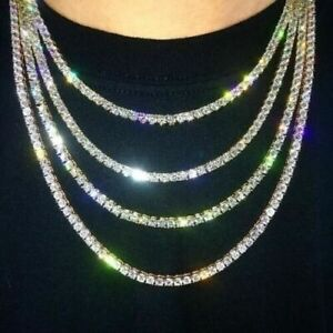 Men/'s Iced Out TENNİS  Chain Link 18k Gold Plated UK SELLER