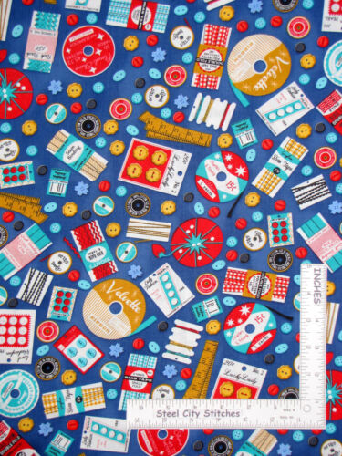 Notion Button Thread Blue Cotton Fabric Kaufman Grans Sewing Basket By The Yard