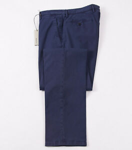NWT-345-BOGLIOLI-Navy-Blue-Stretch-Twill-Cotton-Pants-Slim-35-Eu-52-Chinos