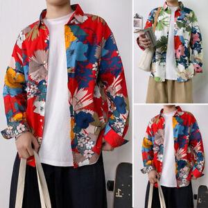 Men-039-s-Long-Sleeve-Floral-Shirt-Casual-Ethnic-Printed-Loose-Hawaiian-Collar-Tops