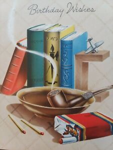 1940s-Vtg-Smoking-PIPE-Ash-Tray-CIGARETTES-Matches-BIRTHDAY-GREETING-CARD