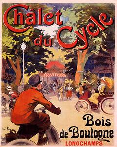 POSTER BICYCLE BIKE CHALET DU CYCLE BOIS DE BOULOGNE PARIS VINTAGE REPRO FREE SH