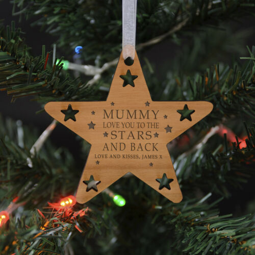 Greeting Card Personalised /'Stars And Back/' Wooden Christmas Tree Decoration