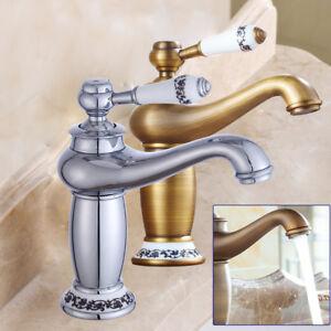 Détails sur Robinet lavabo rétro en haut Mitigeur vasque Salle de bain  laiton DHL