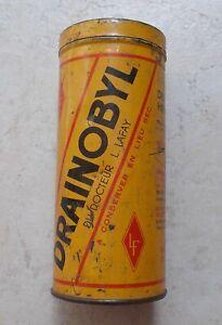 Ancienne-boite-Metal-Tole-Jaune-Drainobyl-Docteur-Lafay-Pharmacie-Vintage