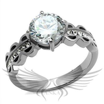 Brilliant 2ct Round Cut Cubic Zircon CZ AAA Engagement Ring 5 6 7 8 9 10 TK2658