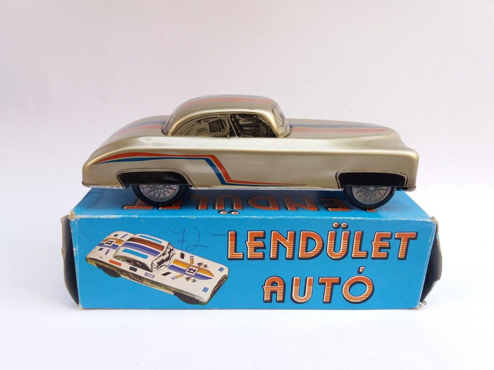 VINTAGE OLD RARE FRICTION HUNGARY TIN TOY LENDULET AUTO + BOX