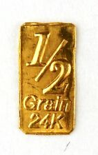 1/2 Gn(NOT GRAM)GOLD BAR OF 24K PURE .999 FINE GOLD STRATEGIC BULLION A4b