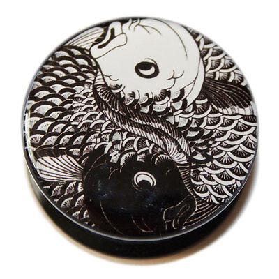 Black White Yin Yang Koi Carp PMMA Acrylic Screw-Fit Ear Flesh Plug Tunnel Plugs