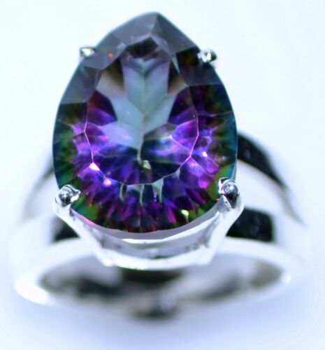 Purple Green Mystic Fire Quartz Gem Ring .925 Sterling SILVER Rings Sizes M to U
