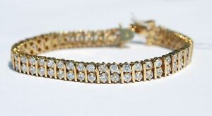 New-14K-Yellow-Gold-Silver-Sterling-Link-Cubic-Zirconia-Bracelet