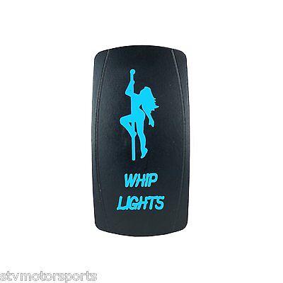 BLUE DUAL LED BACKLIT ROCKER SWITCH LASER ETCHED 20A WHIP LIGHTS OFFROAD UTV