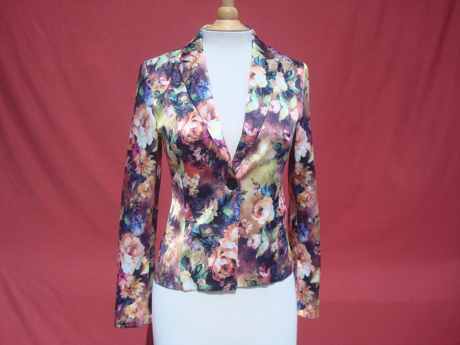 Foreign Exchange Multi-color Floral Satin Cotton Spandex Women's Blazer Sz S